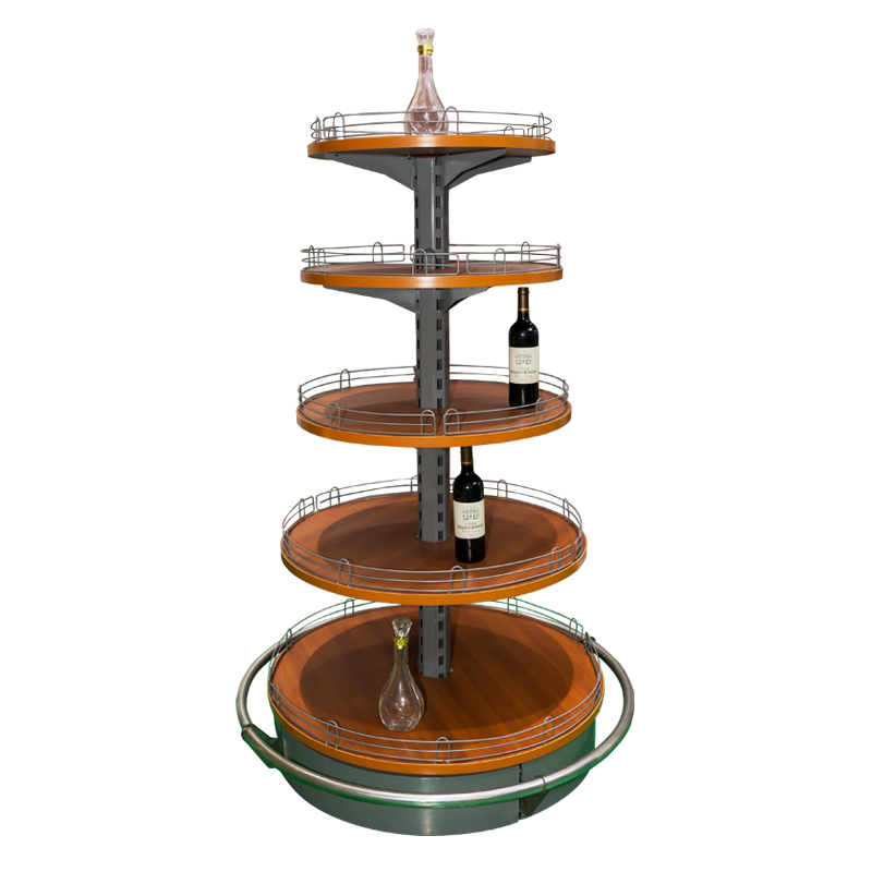 Wooden & steel round island shelf